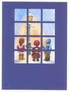 Children in snow through window blue